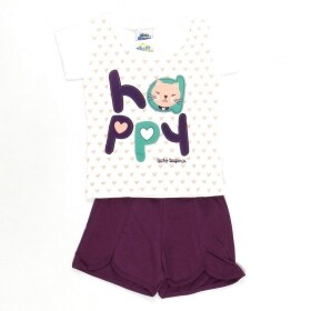 Pijama Brilha No Escuro Happy Cat Creme - Bicho Bagunça