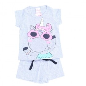 Pijama Brilha No Escuro Pretty Unicorn Cinza