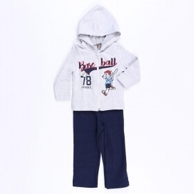 Conjunto Moletom Baseball League Cinza - Mister Kids