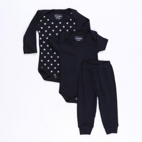 Kit Body 3 Pçs Little Stars Preto - Orango Kids