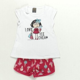 Conjunto Ice Cream Branco Shorts Pink